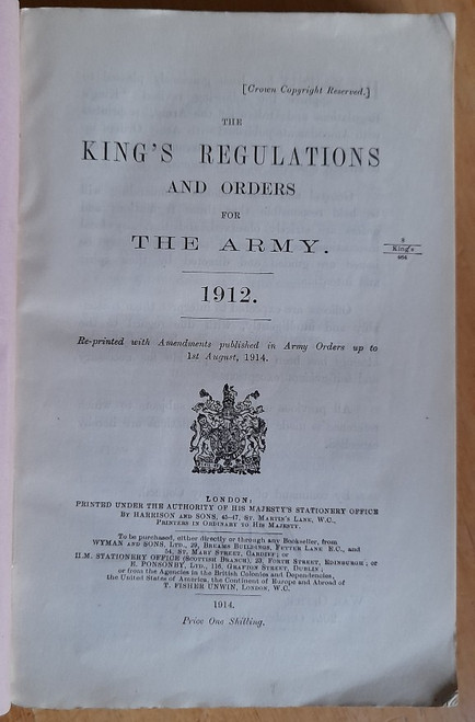 HMSO - King's Regulations and Order for the Army - ( Brtish Army) - Vintage PB 1912 - PB ( 1914 Reprint)