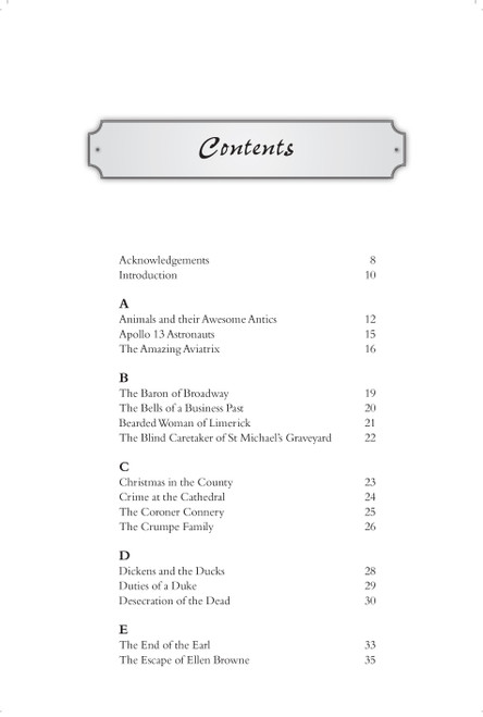 A sample page from the contents