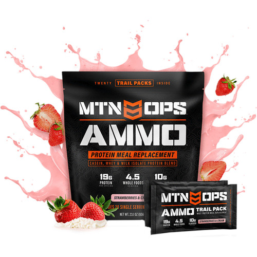 Mtn Ops Ammo Whey Protein Meal Replacement Strawberry Trail Pack 20 Ct.