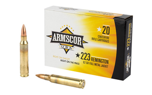 Armscor 223 Rem 62 Grain Full Metal Jacket, 20 Round Box