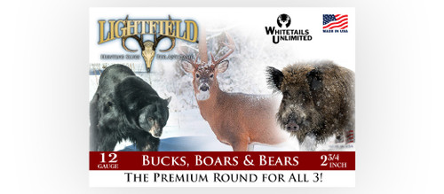 LIGHTFIELD BUCKS, BOARS AND BEARS–ALL 3 WITH ONE SLUG, 2 3/4″ 12GA. IDS SABOT 465GR @1600FPS