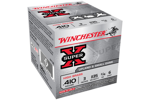"Winchester Ammo Super-X High Brass 410 Gauge 3"" 11/16 oz 6 Shot 25 Bx"