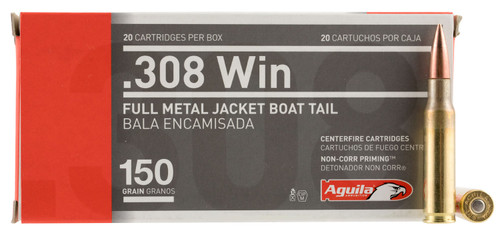 Aguila Rifle 308 Win 150 gr Full Metal Jacket Boat Tail (FMJBT) 20 Box