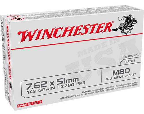 Winchester Ammo USA 7.62x51mm NATO 149 gr Full Metal Jacket (FMJ) 20 Box