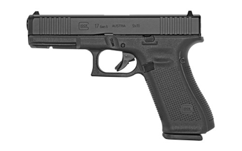 "Glock 17 Gen5 Striker Fired Full Size 9MM 4.49"" Marksman Barrel Polymer Frame Matte Finish Fixed Sights 10Rd 3 Magazines Ambidextrous Slide Stop Lever Flared Mag Well nDLC Finished Slide and Barrel No Finger Grooves Front Serrations"
