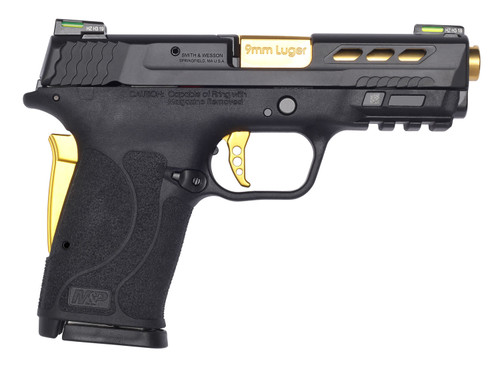 "Smith & Wesson M&P Shield EZ Performance Center 9mm Luger 3.83"" 8+1 Matte Black Black Armornite Stainless Steel Ported Slide Black Polymer Grip Gold Colored Accents"