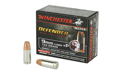 Winchester Ammunition Defender 9MM +P 124 Grain PDX1 Bonded Jacketed Hollow Point 20 Round Box
