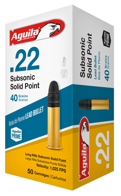 Aguila Subsonic 22 LR 40 gr Lead Solid Point 50 Box