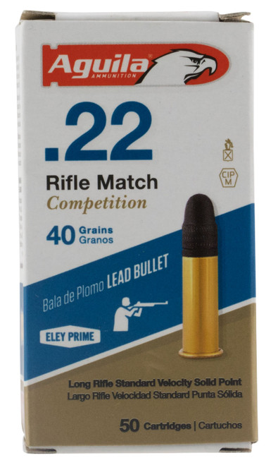 Aguila Rifle Match Competition 22 LR 40 gr Lead Solid Point 50 Box