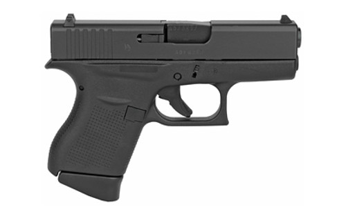 """Glock G43 Subcompact 9mm Luger 3.41"""" 6+1 Black Steel Slide Black Polymer with Aggressive Texture Grip Fixed Sights"""