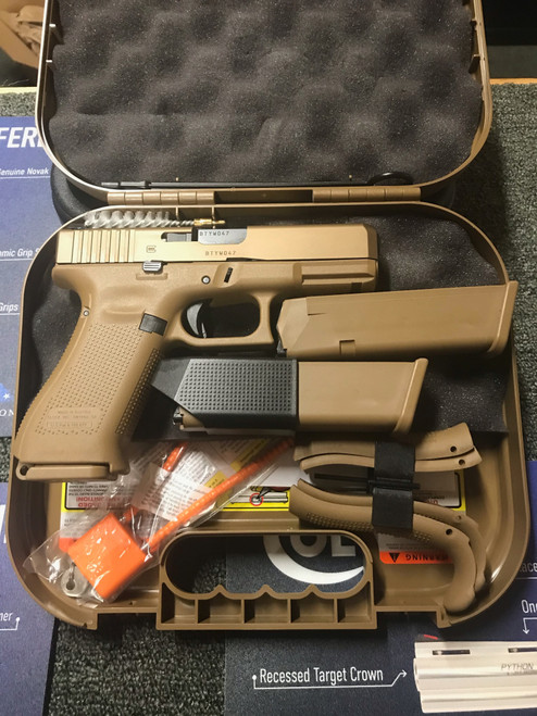 """Glock 19X Compact 9MM 4.02"""" Marksman Barrel Coyote Finish Glock Night Sights Coyote Color Pistol Case 10Rd 3 Magazines"""