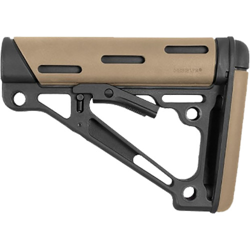 Hogue Overmolded Collapsible Buttstock Fde Fits Mil-spec Buffer Tubes