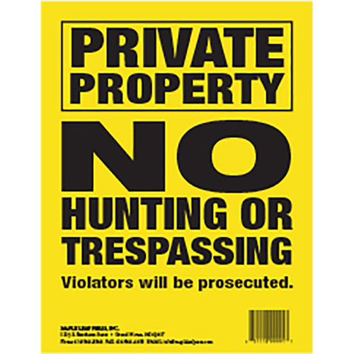 Maple Leaf No Trespassing Sign Yellow 8.5 X 11 In. Vertical