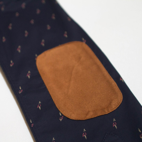 The Nicholas Button-Up - Navy Blue with Birds elbow patch detail