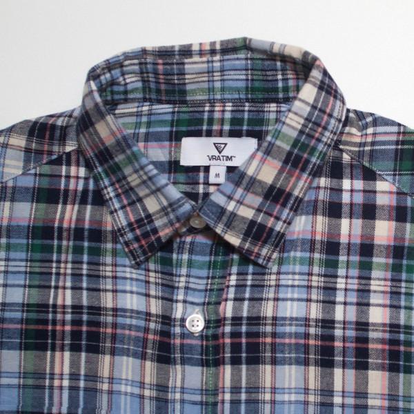 The Vratim Slim Flannel - Blue detail