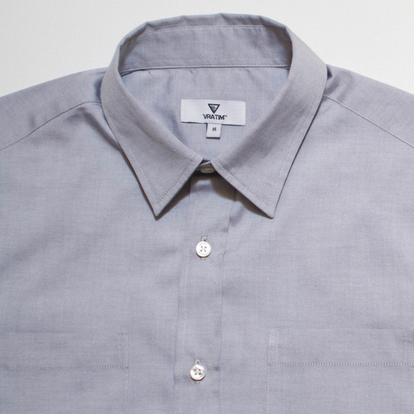 The Vraim Button-Up - Azure Blue detail