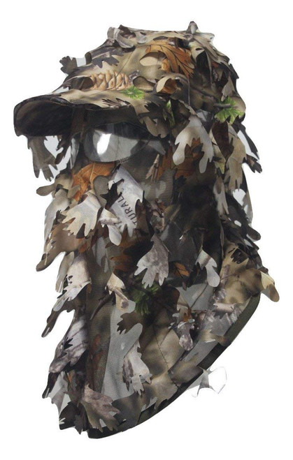 3D Camouflage Full Cover Leafy Hat Brown