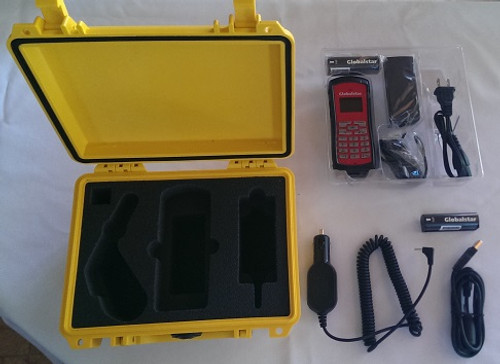 Globalstar GSP-1700 Emergency kit contains watertight case, car charger, AC charger, extra battery