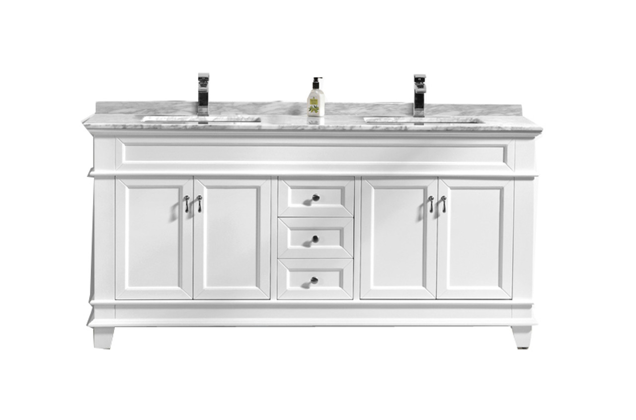 Miraculous Fayer 72 Double Sink White Bathroom Vanity With Carrara Marble Top Home Interior And Landscaping Synyenasavecom