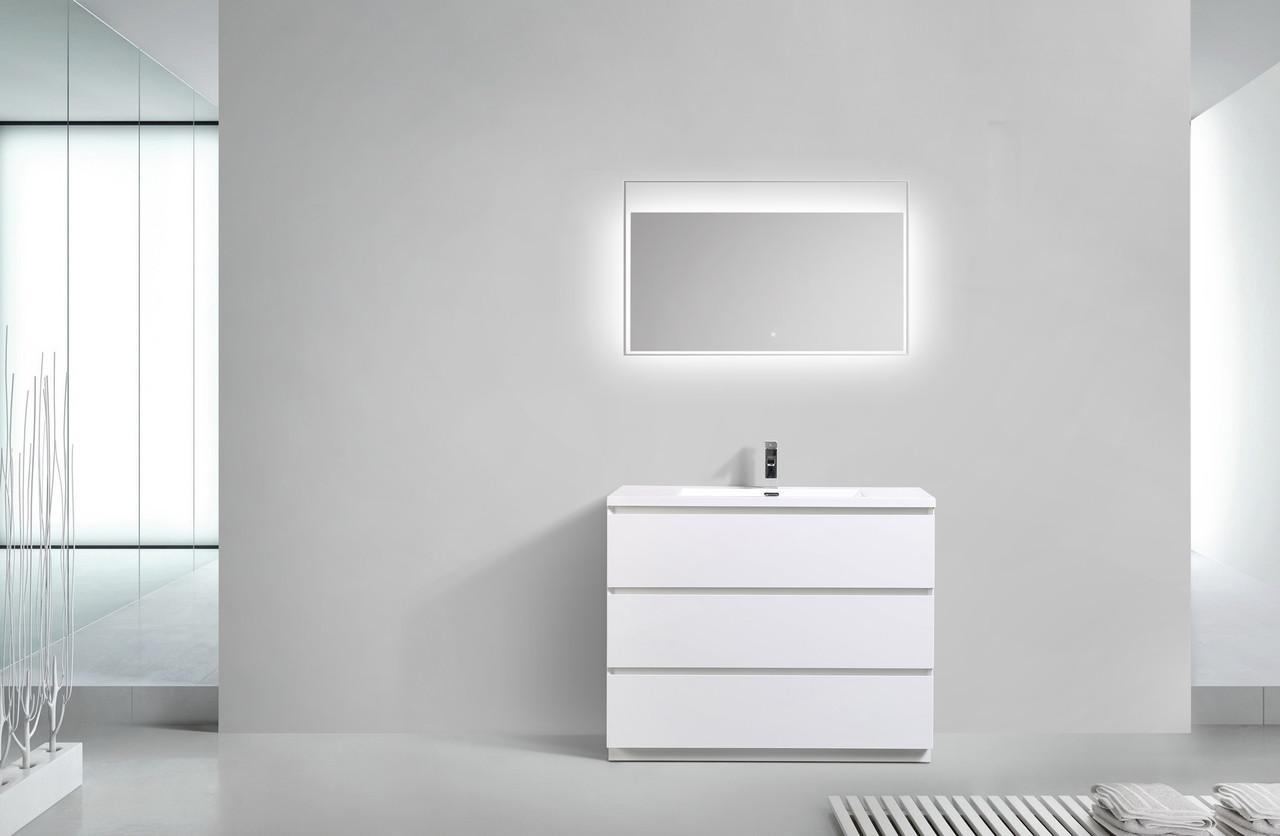 Moa 42 Gloss White Modern Bathroom Vanity W 3 Drawers And Acrylic Sink Bathroom Vanity Wholesale