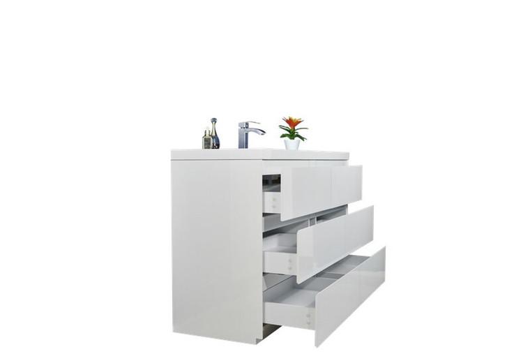 MOA 60″ SINGLE SINK GLOSS WHITE MODERN BATHROOM VANITY W/ 6 DRAWERS AND ACRYLIC SINK
