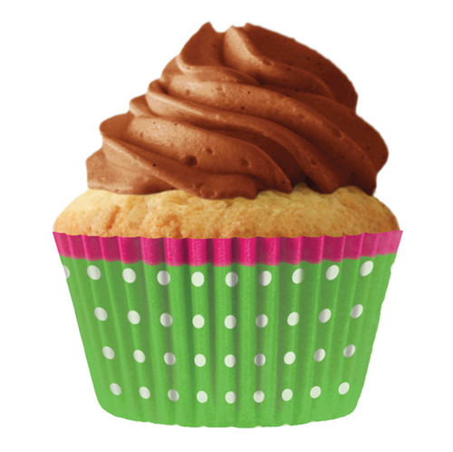 Green Dots Pink Trim Baking Cups [32pcs]