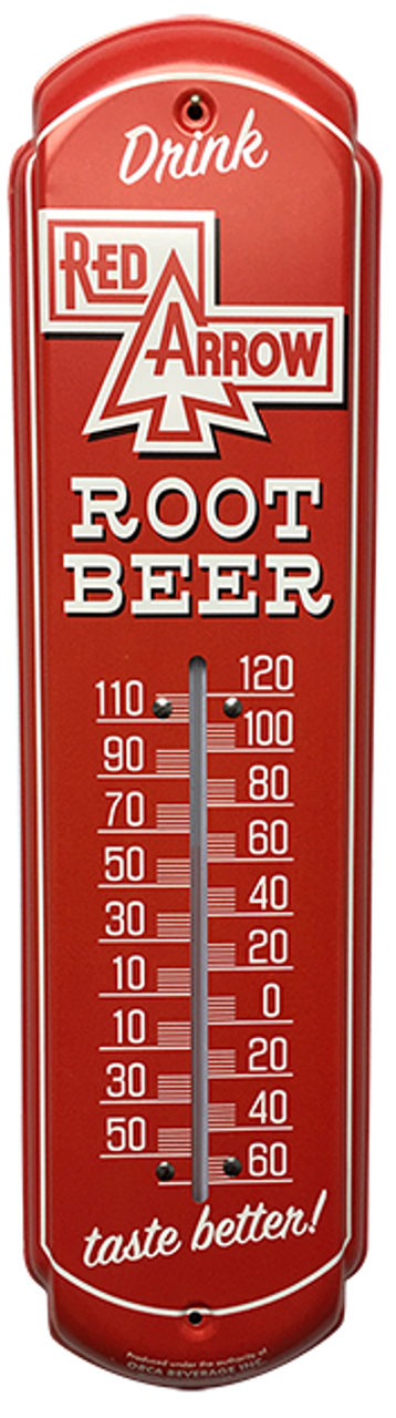 Red Arrow Root Beer Soda Thermometer Vintage Old Style Sign