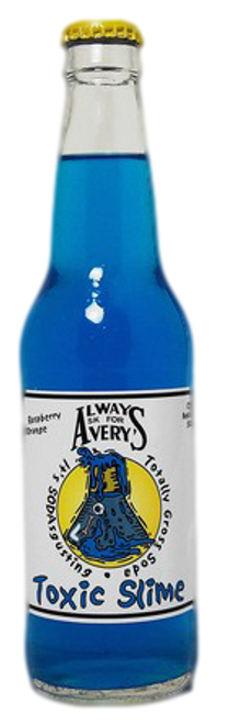 Avery's Totally Gross Toxic Slime Soda in 12 oz. glass bottles for Sale
