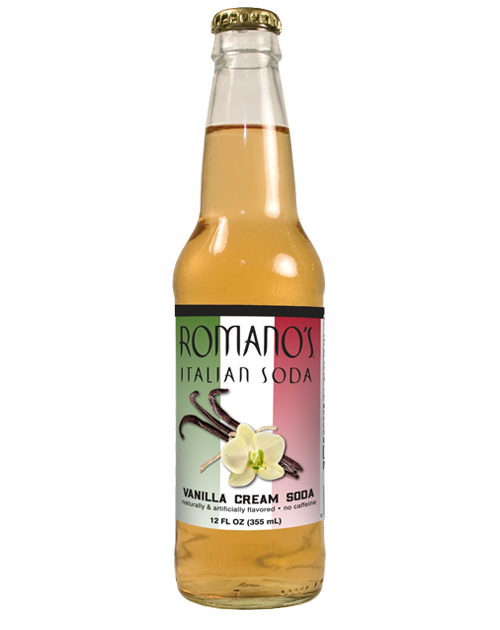 Romano's Vanilla Cream Italian Soda in 12 oz glass bottles from SummitCitySoda.com