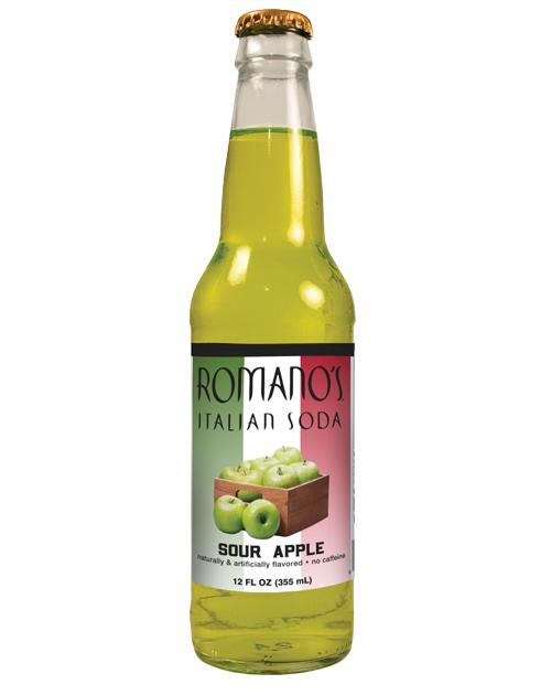 Romano's Sour Apple Italian Soda in 12 oz glass bottles from SummitCitySoda.com