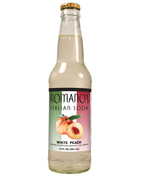 Romano's White Peach Italian Soda in 12 oz glass bottles from SummitCitySoda.com