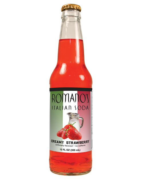 Romano's Creamy Strawberry Italian Soda in 12oz glass bottles from SummitCitySoda.com