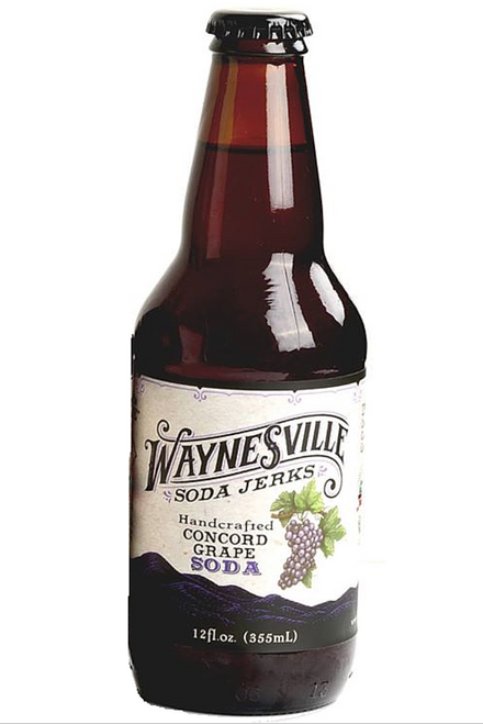 Waynesville Soda Jerks Handcrafted Concord Grape Soda in 12 oz glass bottles at SummitCitySoda.com