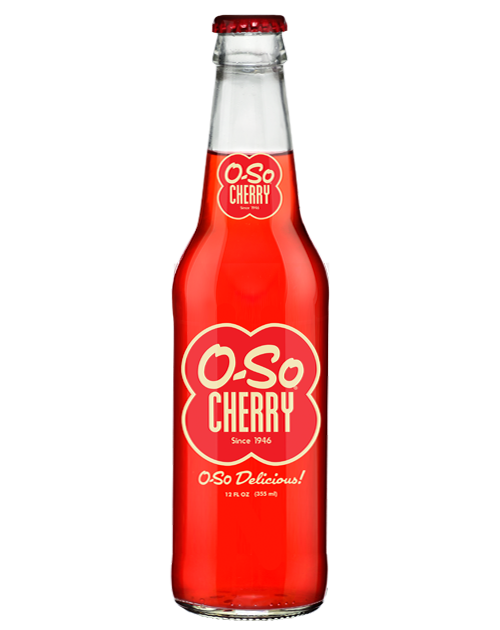 O-So Good  Cherry Soda in 12 oz. glass bottles from Summit City Soda