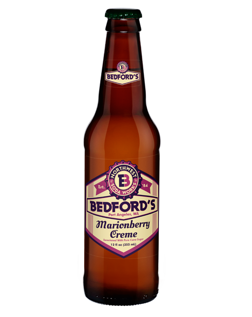 Bedford's Marionberry Creme Soda in 12 oz. glass bottles for Sale from SummitCitySoda.com