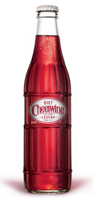 Cheerwine Diet Soda in 12 oz. glass bottles for Sale