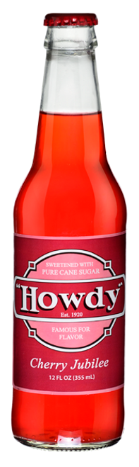 Howdy Cherry Jubilee Soda in 12 oz. glass bottles for Sale