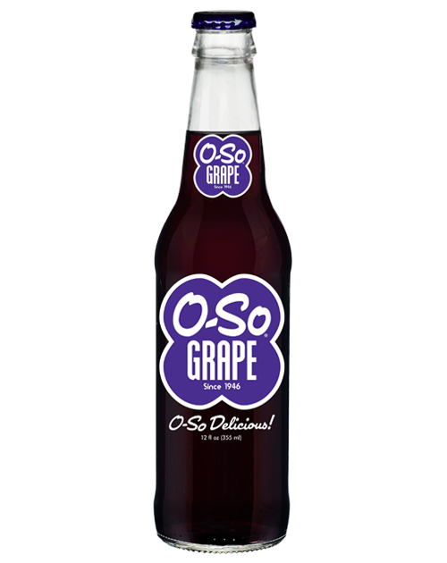O-So Good Grape Soda in 12 oz. glass bottles from Summit City Soda