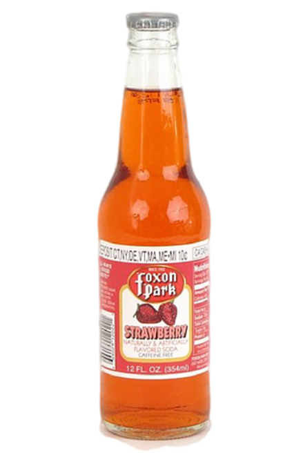 Foxon Park Strawberry Soda in 12 oz. glass bottles for Sale at SummitCitySoda.com