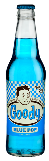 Goody Blue Pop in 12 oz. glass bottles for Sale