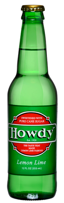 Howdy Lemon Lime Soda in 12 oz. glass bottles for Sale