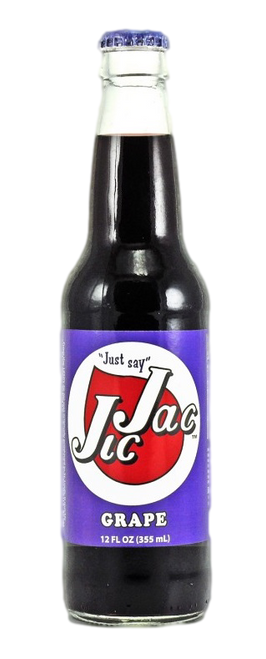 Jic Jac Grape Soda in 12 oz. glass bottles for Sale