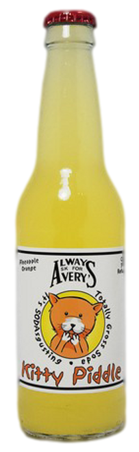 Avery's Totally Gross Kitty Piddle Soda in 12 oz. glass bottles for Sale