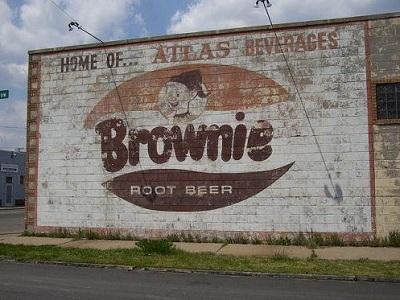 Atlas Beverge Company Brownie Root Beer Sign