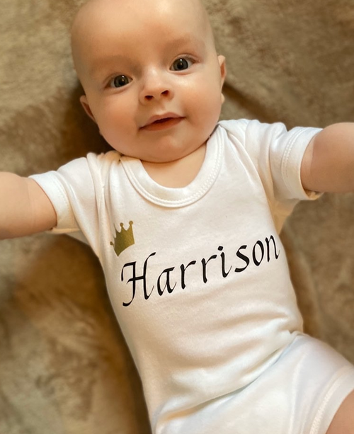 This gorgeous personalised baby bodysuit is so perfect for those precious first photos specially made for the special little prince.