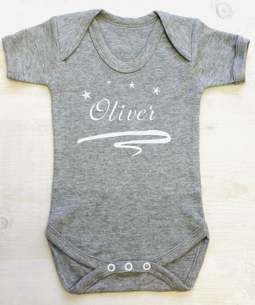 Reach For The Stars with this charming personalised baby bodysuit. Personalised miniME FREE Gift Box and FREE Personalisation with NEXT DAY DELIVERY