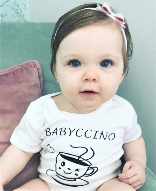 BABYCCINO personalised baby bodysuit available long or short sleeves.