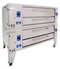 """Bakers Pride Y-602 Two 8"""" Deck High Super Deck Series Stainless and Aluminized Steel Gas Pizza Bake Ovens   Double-Stacked Commercial Ovens with (2) 60""""W x 36""""D FibraMent Decks, 8"""" Deck Height & 2 Baking Chambers 240000 BTU"""