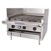 """Bakers Pride L-24R H-Burner Stainless Steel Dante Series Low Profile Countertop Gas Charbroilers 