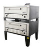 """Peerless CW42P Gas Pizza Ovens with Two 7"""" High Decks, Pizza Stones and 42""""W x 32""""D Deck Interior   50 inch Wide Double-Stacked Stainless Steel Commercial Super Size Floor Model Ovens (2) 60000 BTU"""
